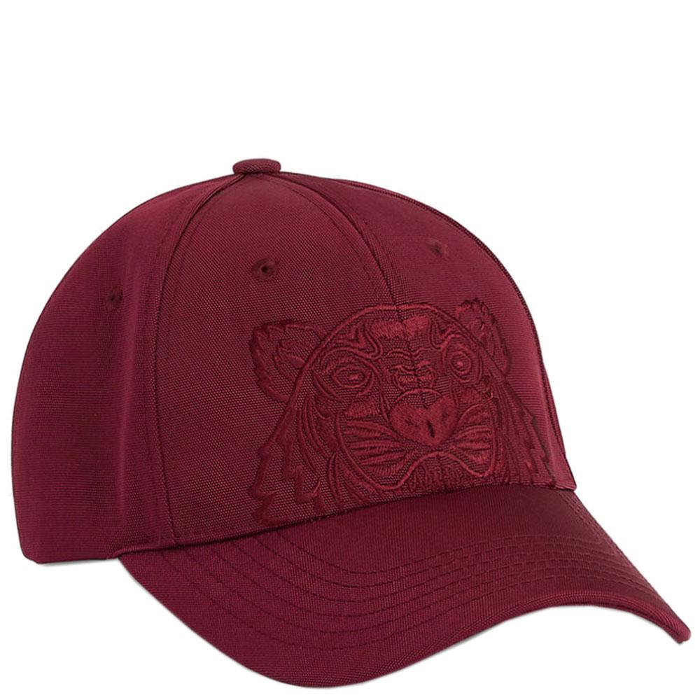 Бордовая кепка Kenzo с вышивкой-тигром