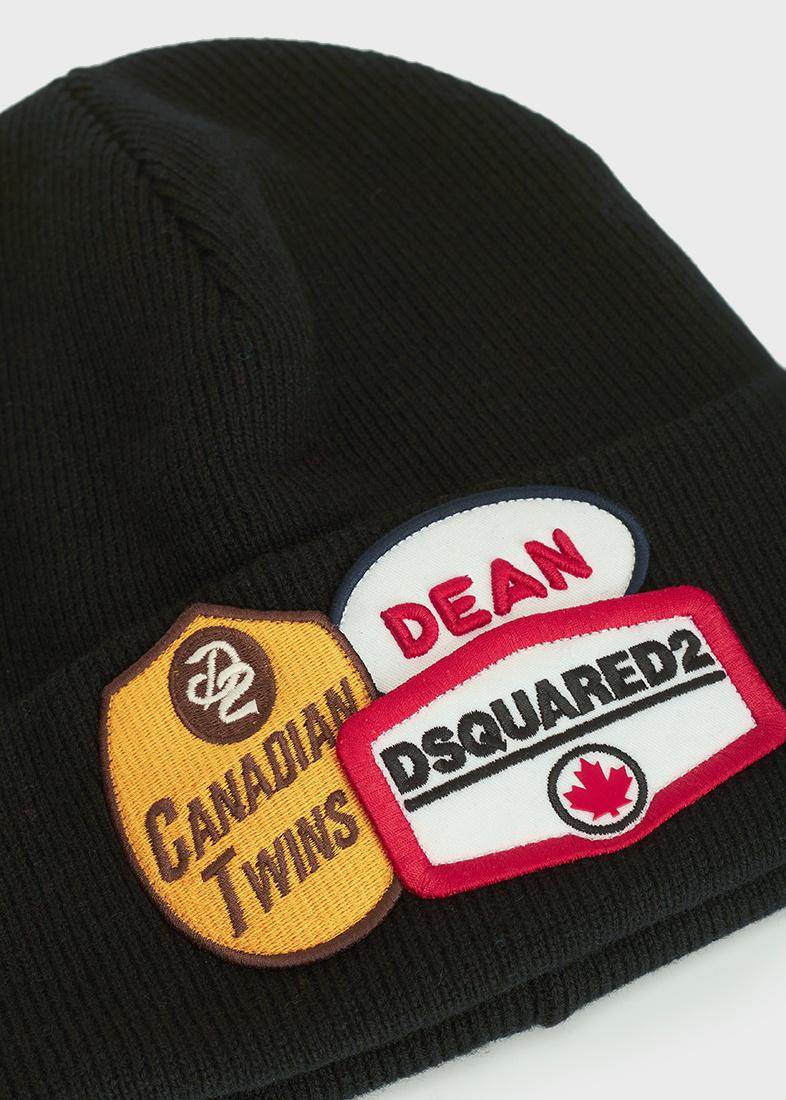 Шерстяная шапка Dsquared2 с декором-эмблемой
