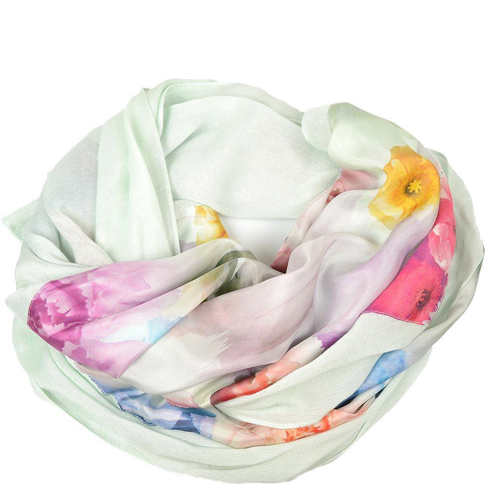 Шелковая шаль Ted Baker нежно-мятная с цветочным принтом