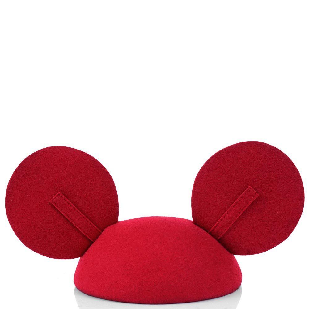 Шляпка-таблетка Ушки Микки Мауса бордового цвета