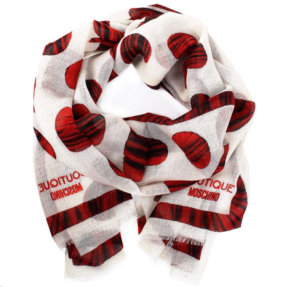Шерстяной шарф Boutique Moschino бежевого цвета в красные сердечки