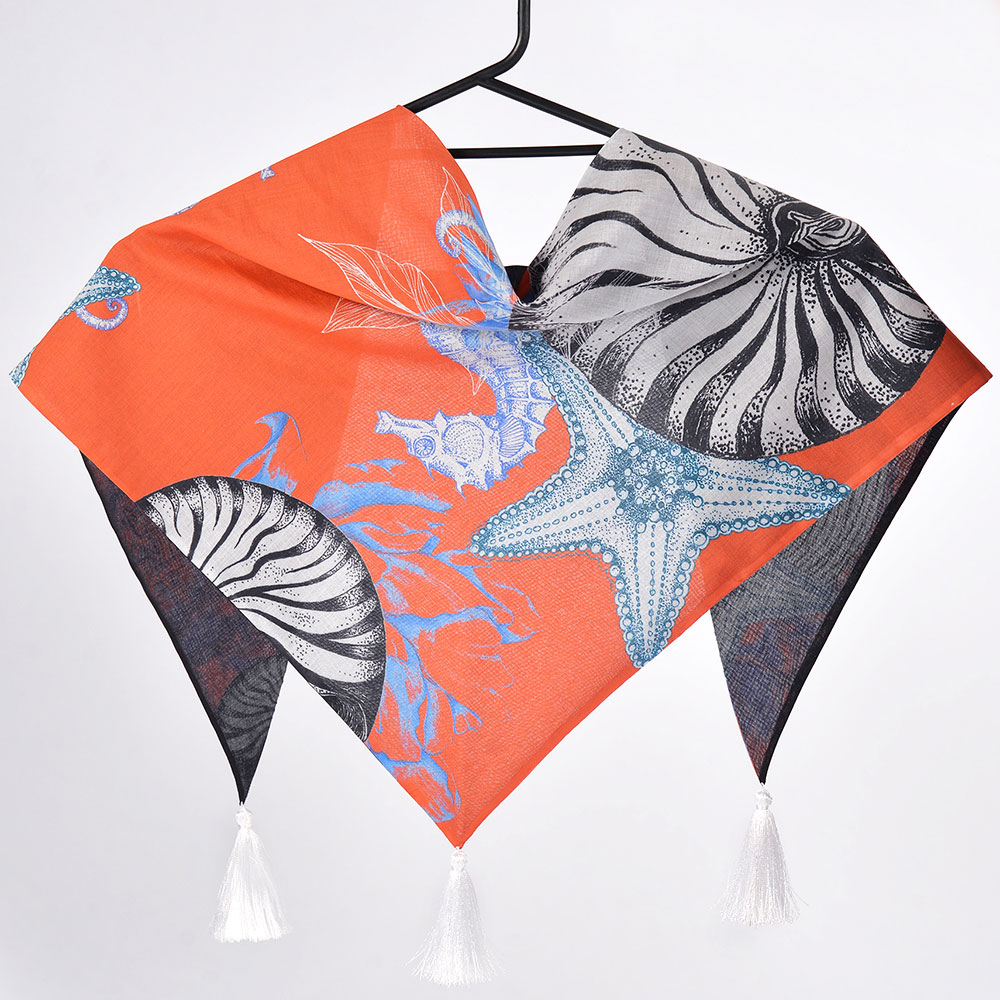 Двухсторонняя оранжевая косынка D.OLYA by Olga Dvoryanskaya с морским принтом