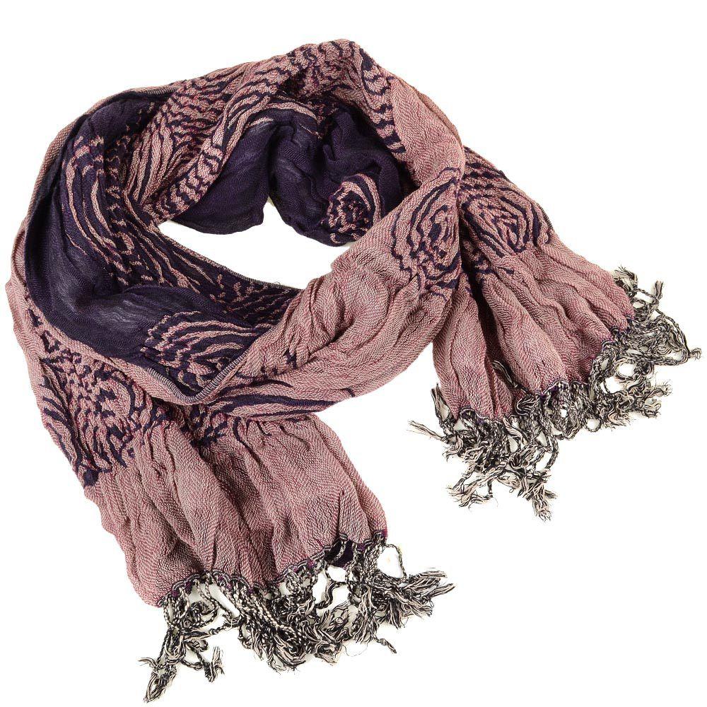 Шарф двойной двусторонний жатый с пыльно-розовой стороной и фиолетовой