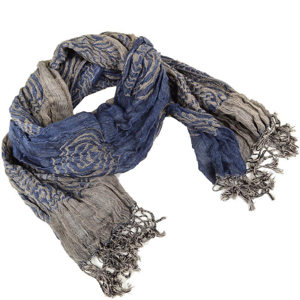 Шарф двойной двусторонний жатый серо-синий