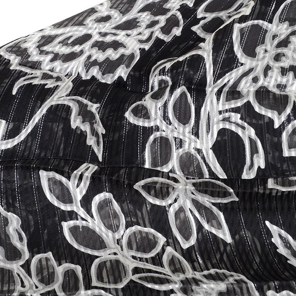 Шарф-палантин легкий шелковый серо-черный с белыми цветами
