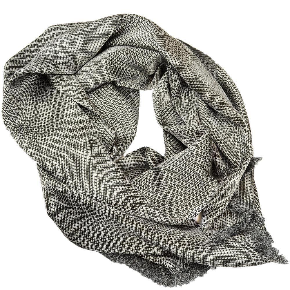 Шелковый шарф Messori светло-серый с мелким изысканным рисунком