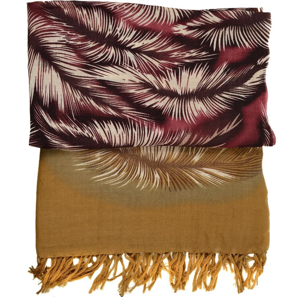 Шерстяной шарф FFC двусторонний горчично-бордовый со стилизованным изображением перьев