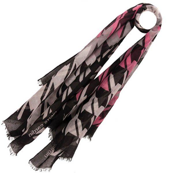 Тонкий шарф Pierre Cardin черно-серый с розовым