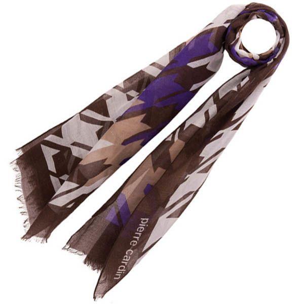 Тонкий шарф Pierre Cardin коричневый с фиолетовым