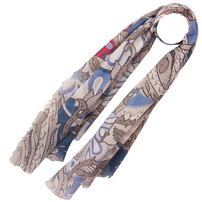 Тонкий шарф Pierre Cardin серый с голубым и лиловым и с декором в виде белых жемчужен