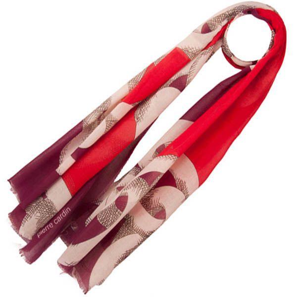 Тонкий шарф Pierre Cardin красный с белым