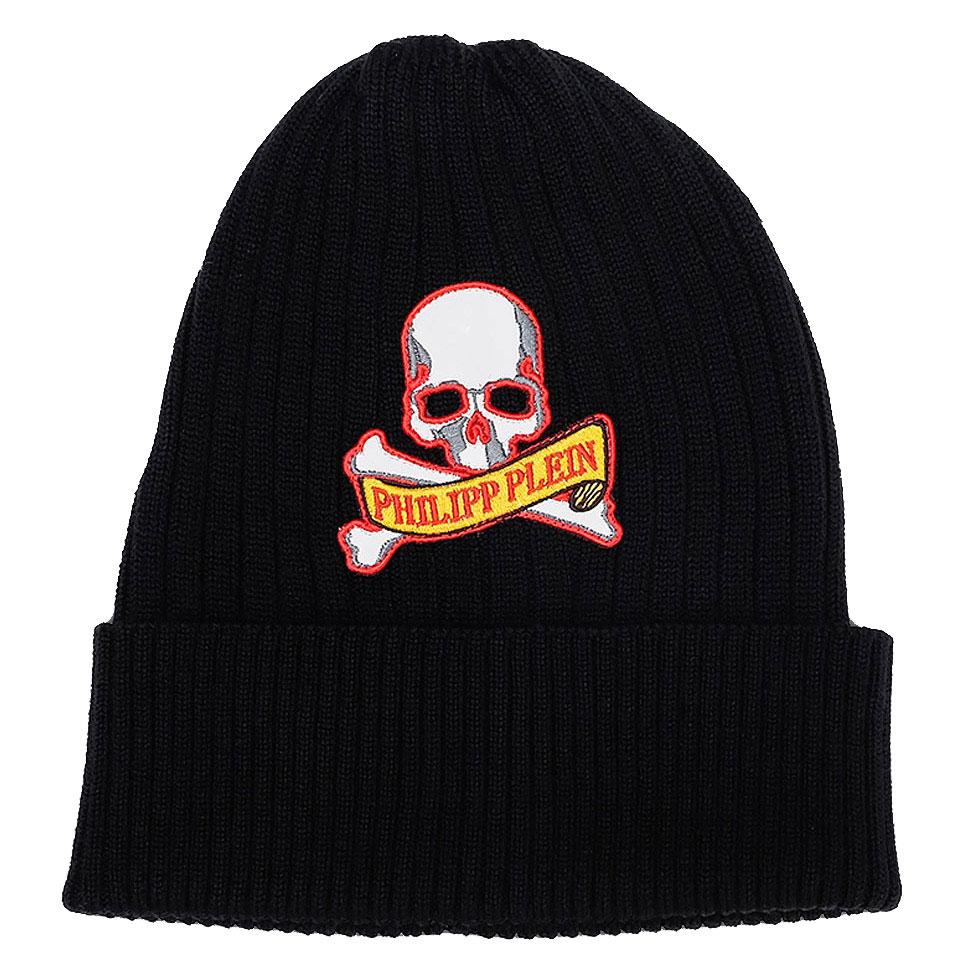 Черная шапка Philipp Plein с нашивкой в виде черепа