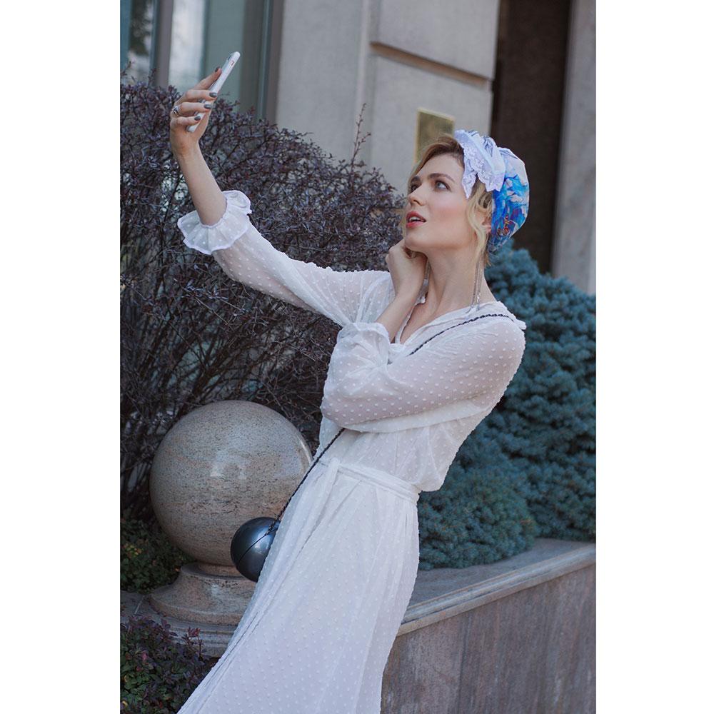 Косынка D.OLYA by Olga Dvoryanskaya с  с цветочным принтом и французским кружевом