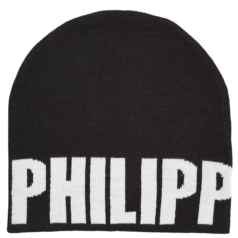 Детская шапка Philipp Plein черная с лого