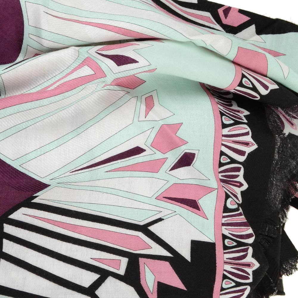 Тругольная косынка Emilio Pucci теплая черно-бордовая в сочетании с мятным оттенком
