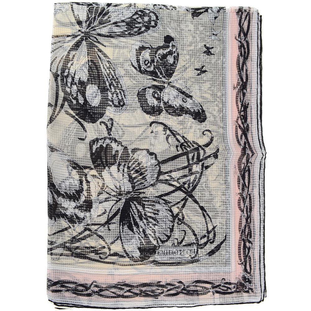 Шаль Emilio Pucci шелковая в бледно-розовых и серых оттенках