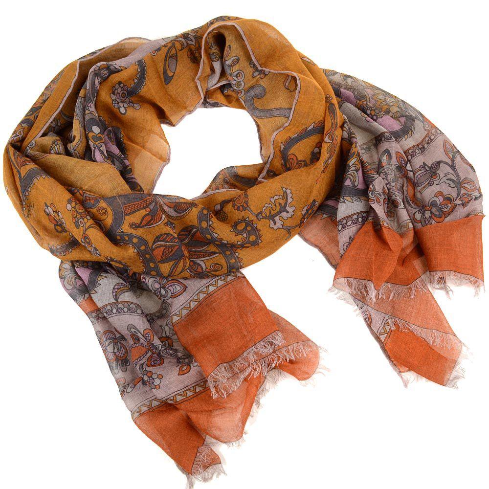 Шаль Emilio Pucci теплая приятная оранжево-коричневая