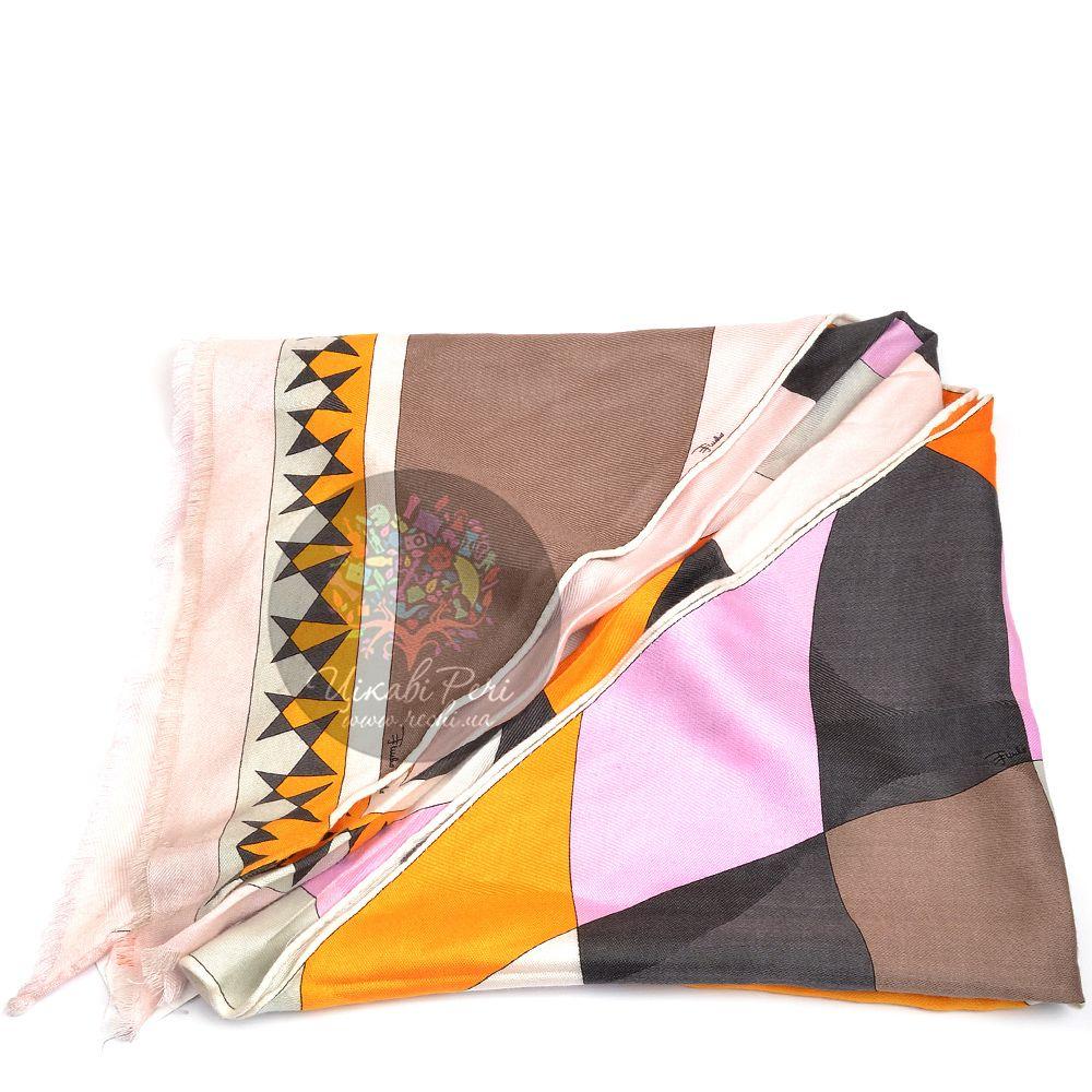 Косынка Emilio Pucci большая теплая с розовыми, оранжевыми, бежевыми и серыми ромбами