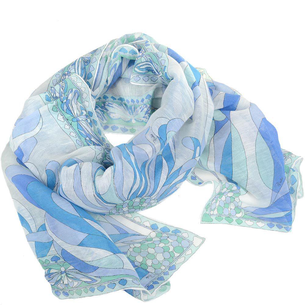 Шаль Emilio Pucci голубая тонкая льняная с цветочным принтом и бабочками