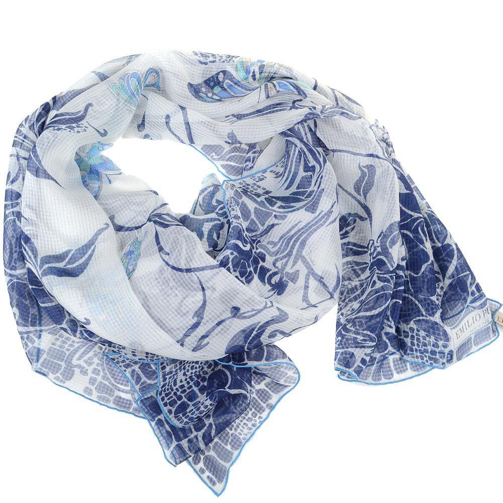 Шаль Emilio Pucci шелковая белая с синим цветочным принтом и бабочками