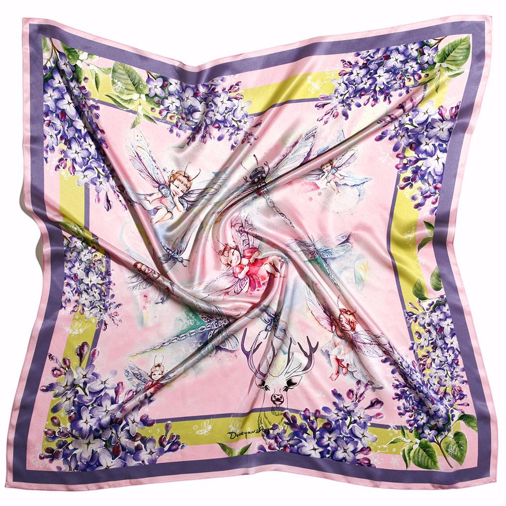 Розовый шейный платок D.OLYA by Olga Dvoryanskaya Spring с ручной обработкой шва