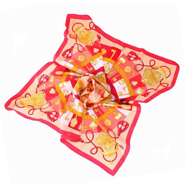 Шелковый яркий коралловый платок с модным принтом Fattorseta