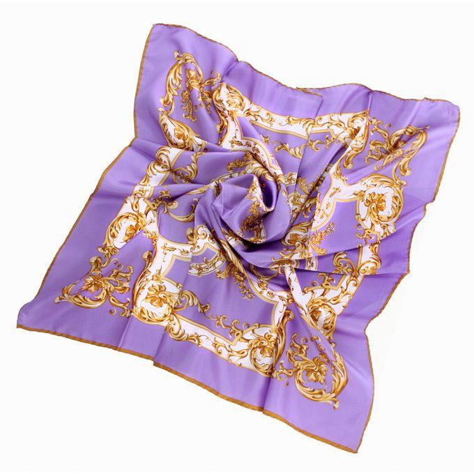 Нежный лавандовый шелковый платок Fattorseta с растительным принтом