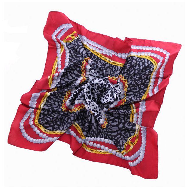 Шелковый платок Fattorseta с красным кантом