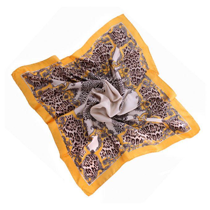 Шелковый платок Fattorseta Янтарный джем с леопардовым принтом