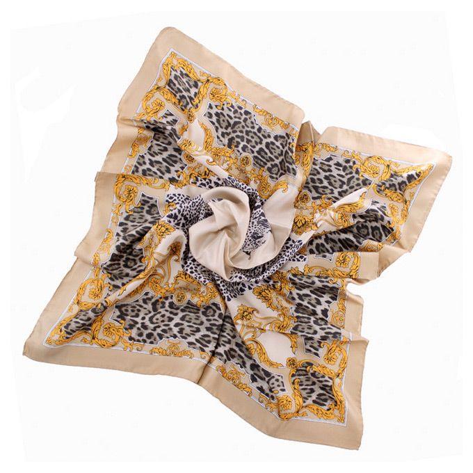Шелковый платок Fattorseta Каппучино с леопардовым принтом
