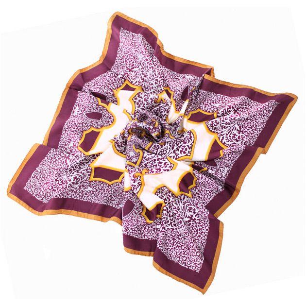Шикарный шелковый итальянский платок с изящным растительным принтом Fattorseta