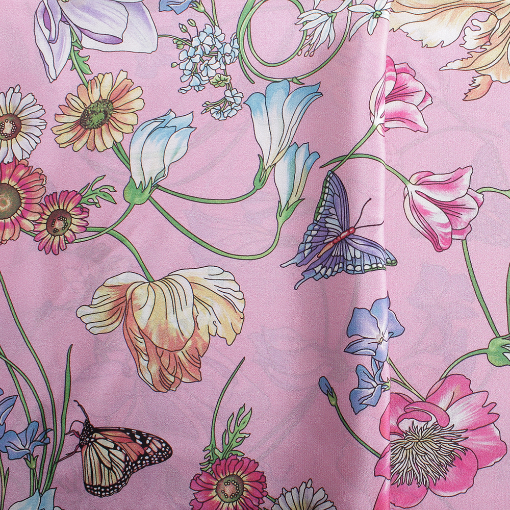 Розовый палантин Fattorseta с цветочным принтом