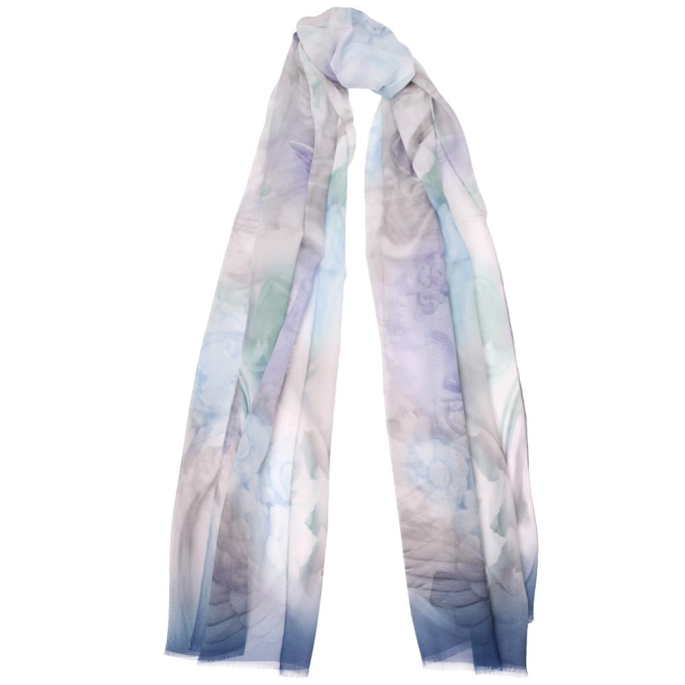 Шелковый платок Fattorseta голубого цвета с принтом