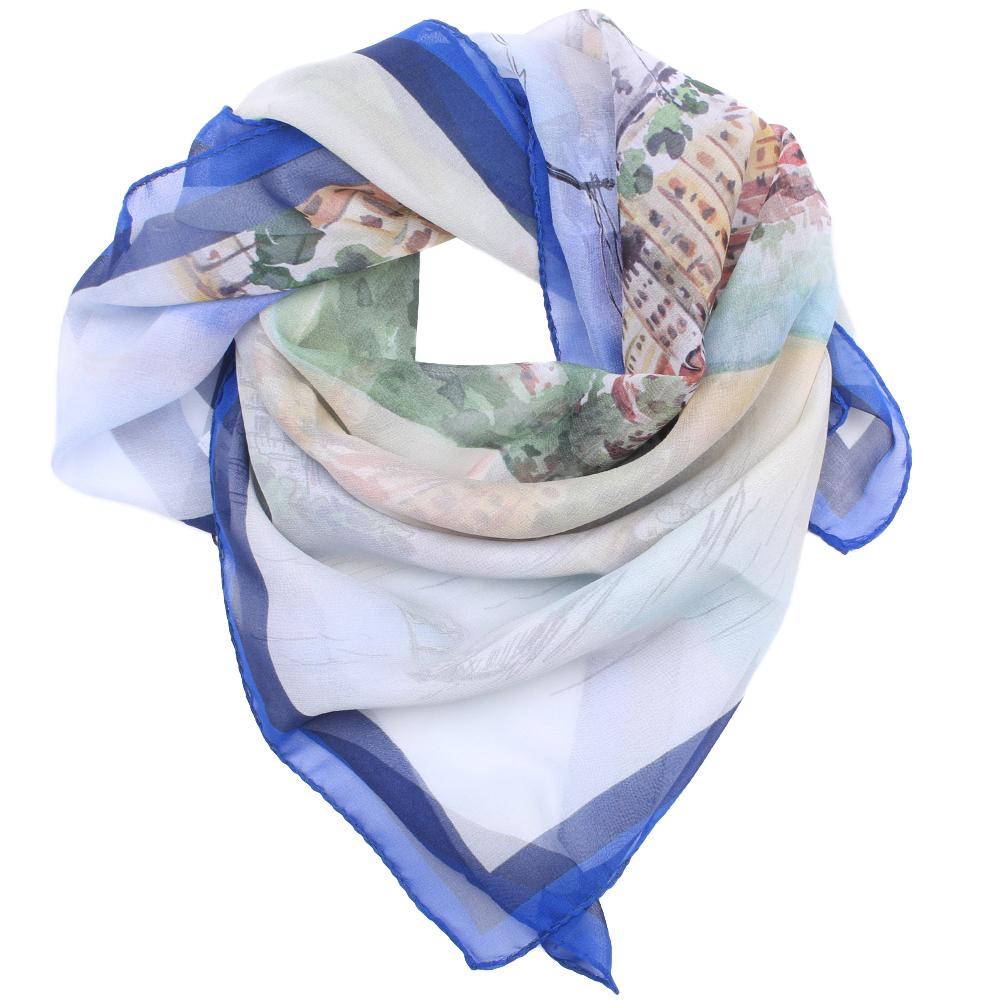 Синий платок Fattorseta с принтом города