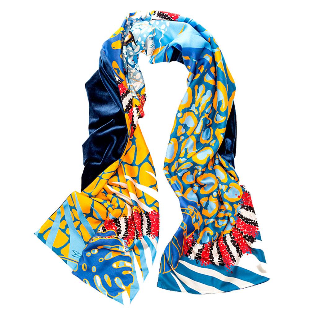 Двухсторонний шарф D.OLYA by Olga Dvoryanskaya Savanna из шелка и бархата