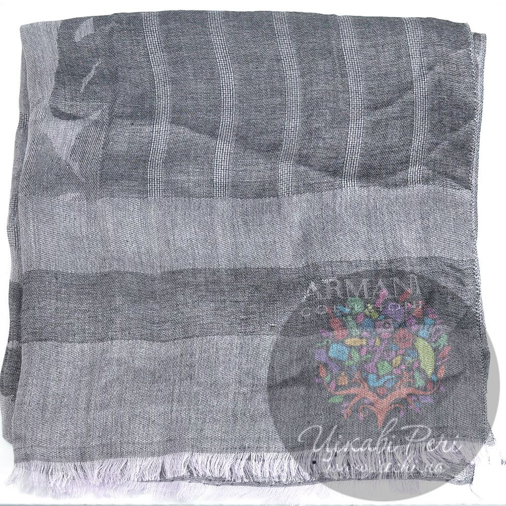 Палантин Armani Collezioni серый с легким синеватым оттенком
