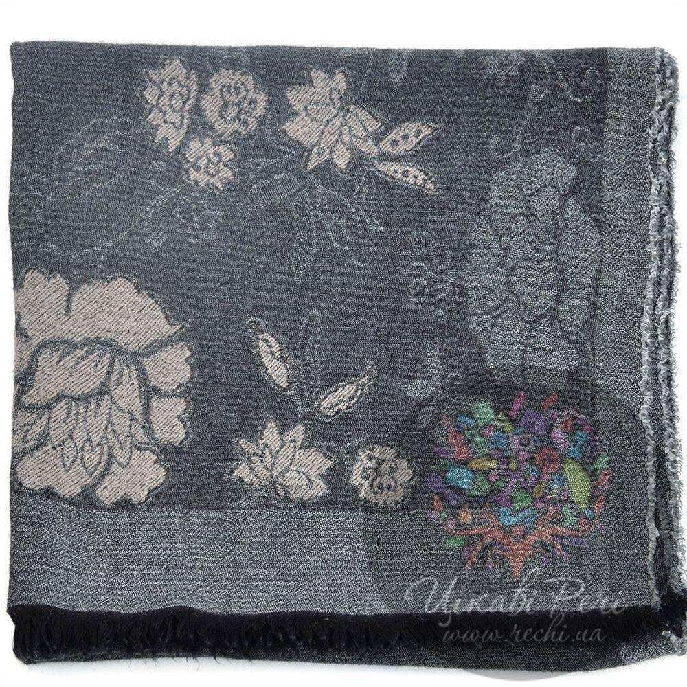 Палантин Armani Collezioni серый с цветами