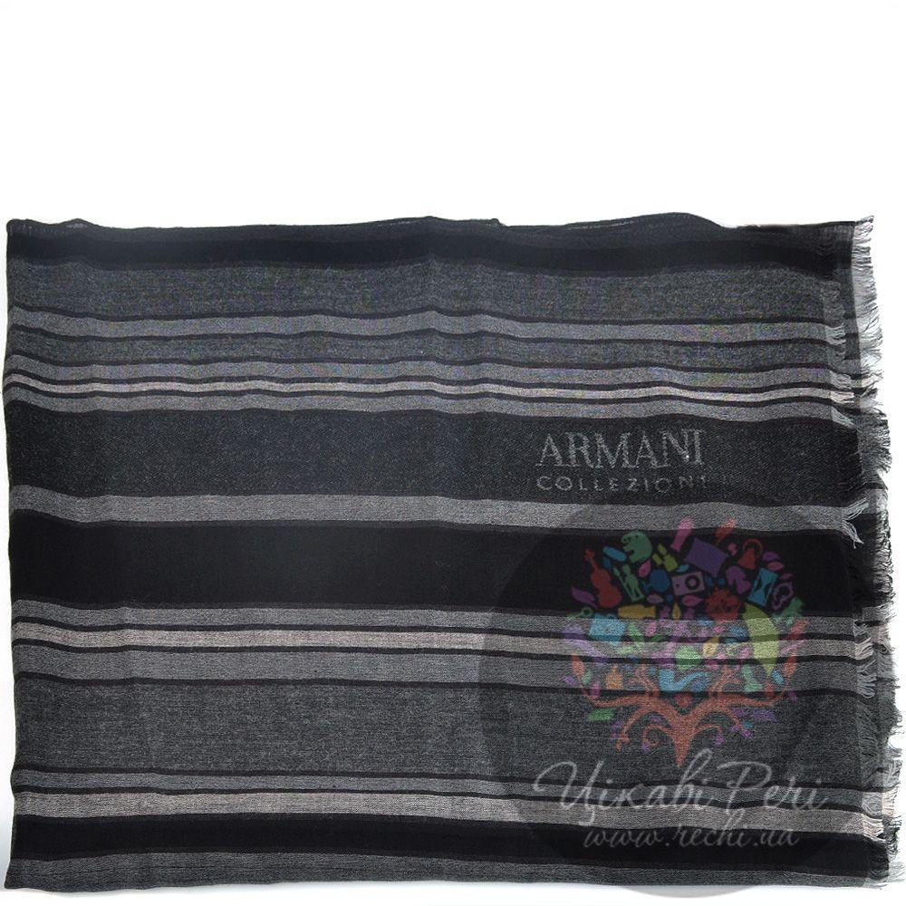 Палантин Armani Collezioni полосатый в оттенках серого