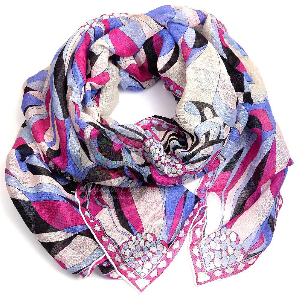 Шарф Emilio Pucci тонкий розово-голубой со стилизованным цветочным принтом