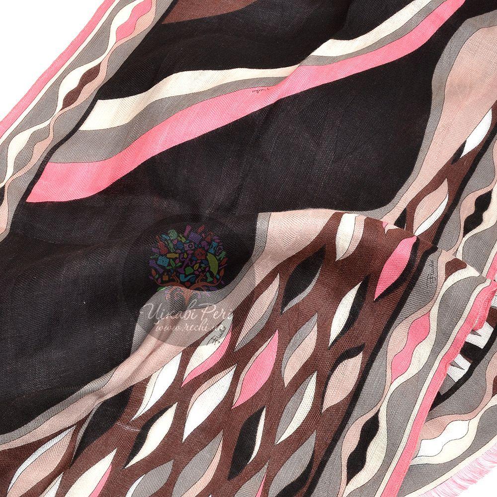 Шарф Emilio Pucci с принтом в шоколадно-серо-розовых тонах