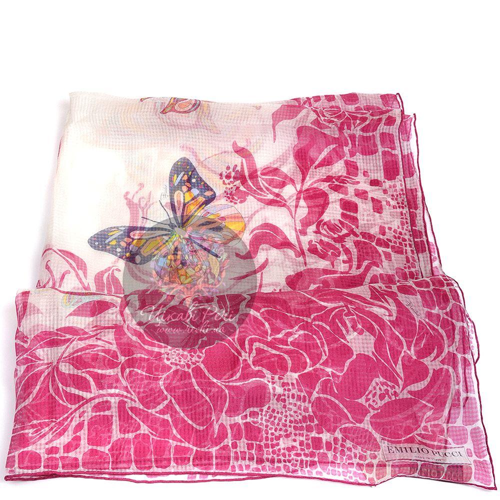 Палантин Emilio Pucci тонкий полупрозрачный с бабочками и малиновыми цветами
