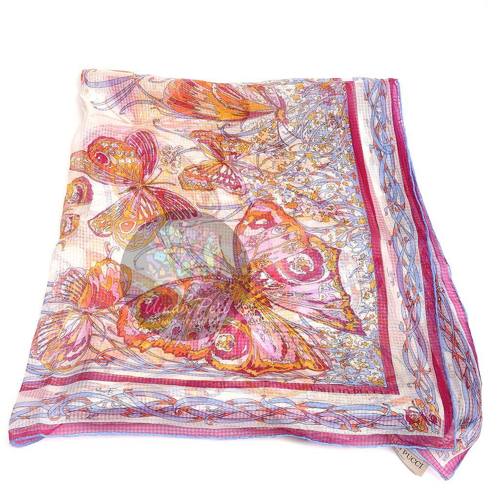 Палантин Emilio Pucci тонкий нежный оранжево-розовый с бабочками