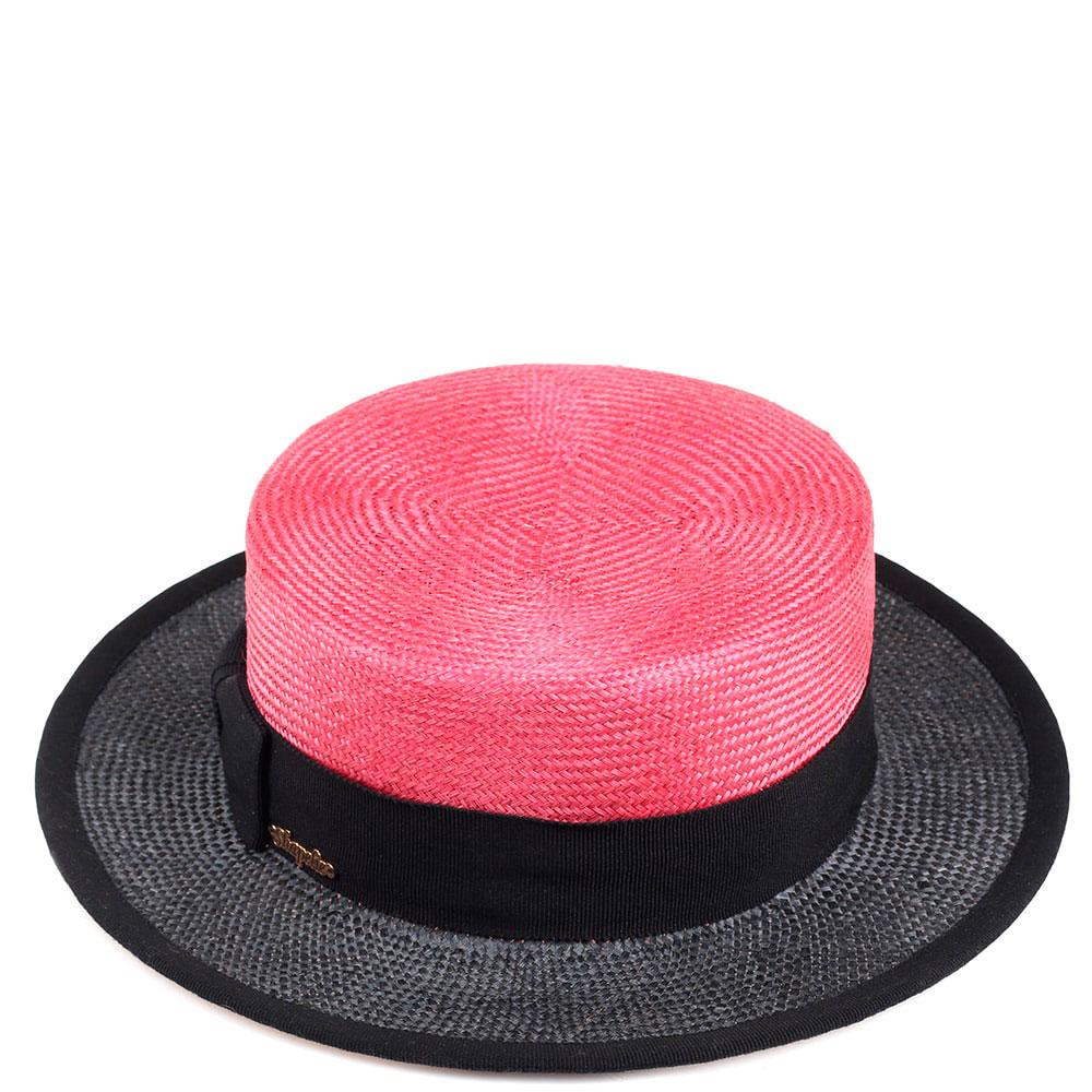 Женская шляпа Shapelie Канотье розовая с черным
