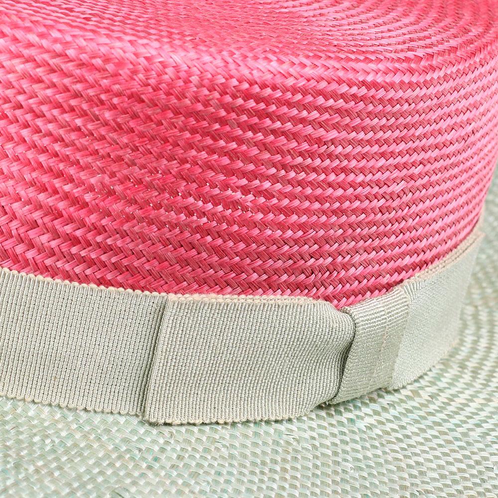 Женская шляпа Shapelie Канотье розовая с зеленым