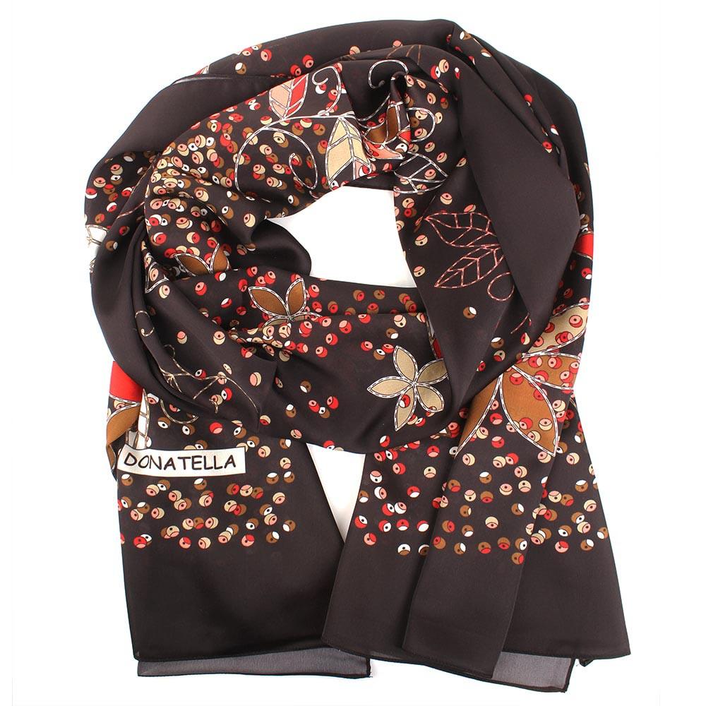 Шелковый шарф Fashion jewellery черного цвета с флористическим принтом