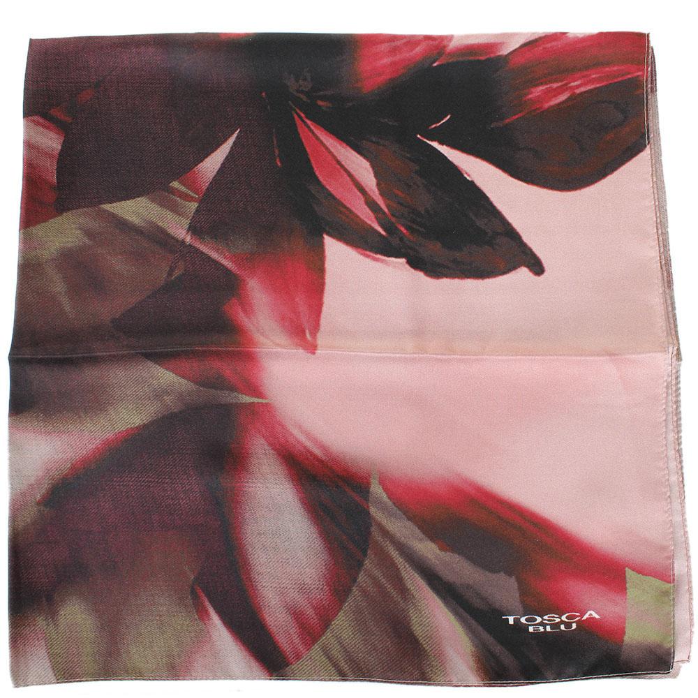 Платок Tosca Blu Forest tea с бордовым цветочным принтом