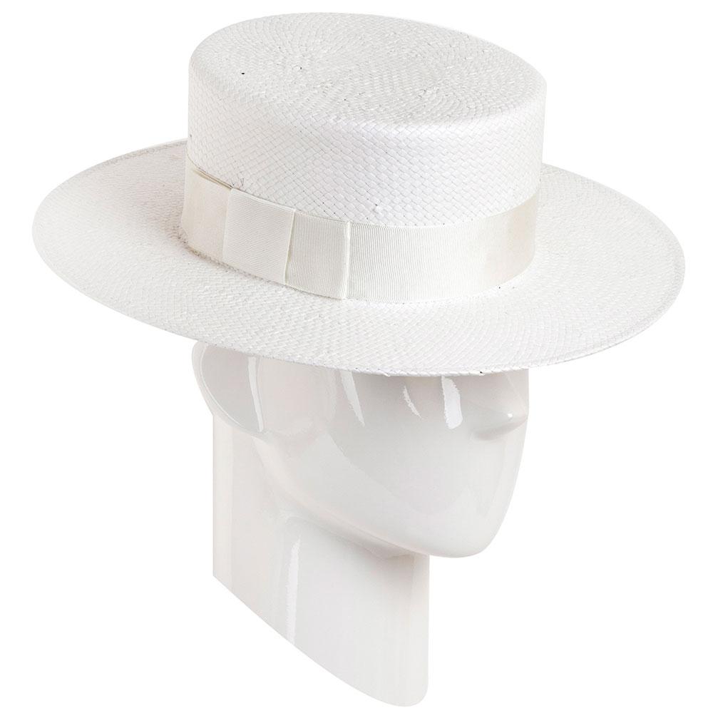 Канотье белого цвета Shapelie с декором из ленты