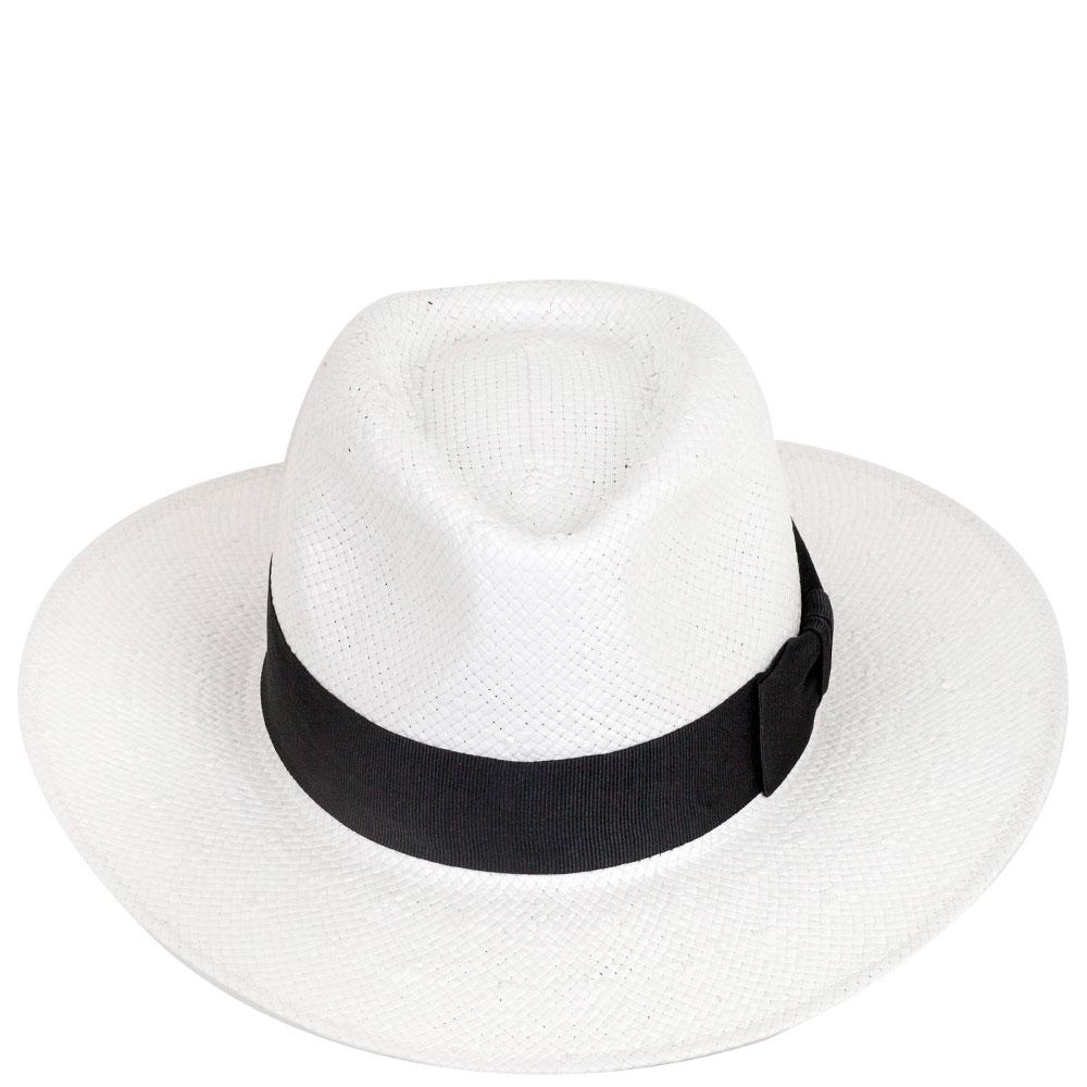 Шляпа мужская Shapelie Федора белого цвета с черной лентой