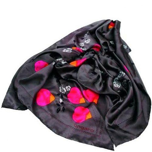 Платок Ungaro «Cosenza» шелковый серый с яркими розовыми лепестками