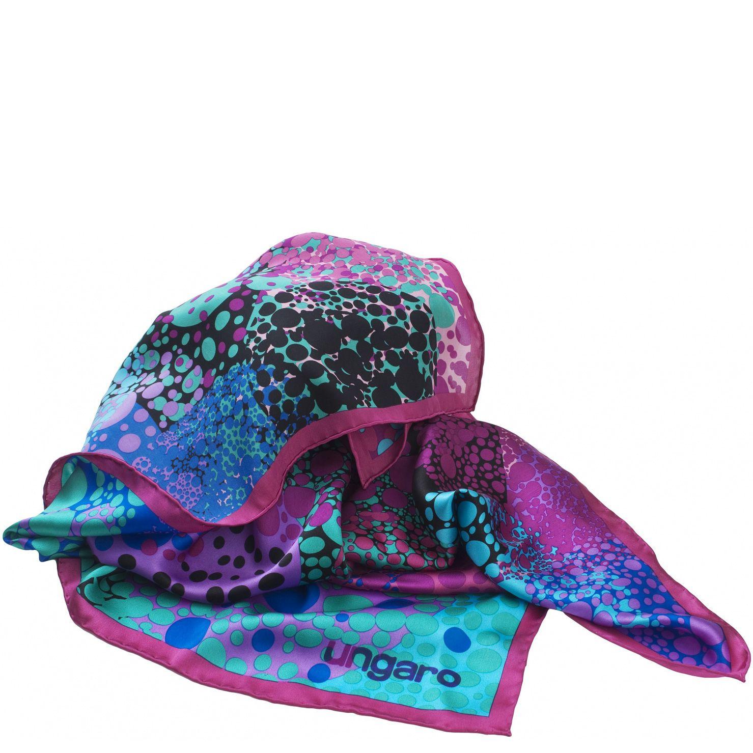 Платок Ungaro «Pomezia» шелковый в сочетании цветов морской волны и фуксии